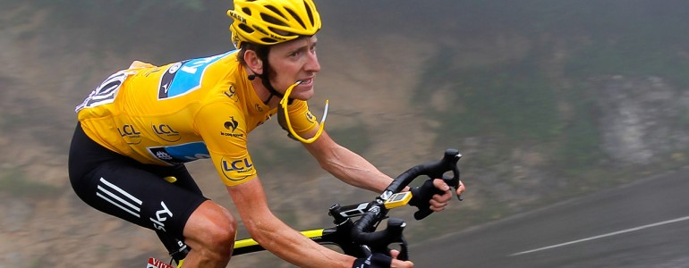 Bradley Wiggins of Great Britain descends the Col de Mente 2012 Tour De France